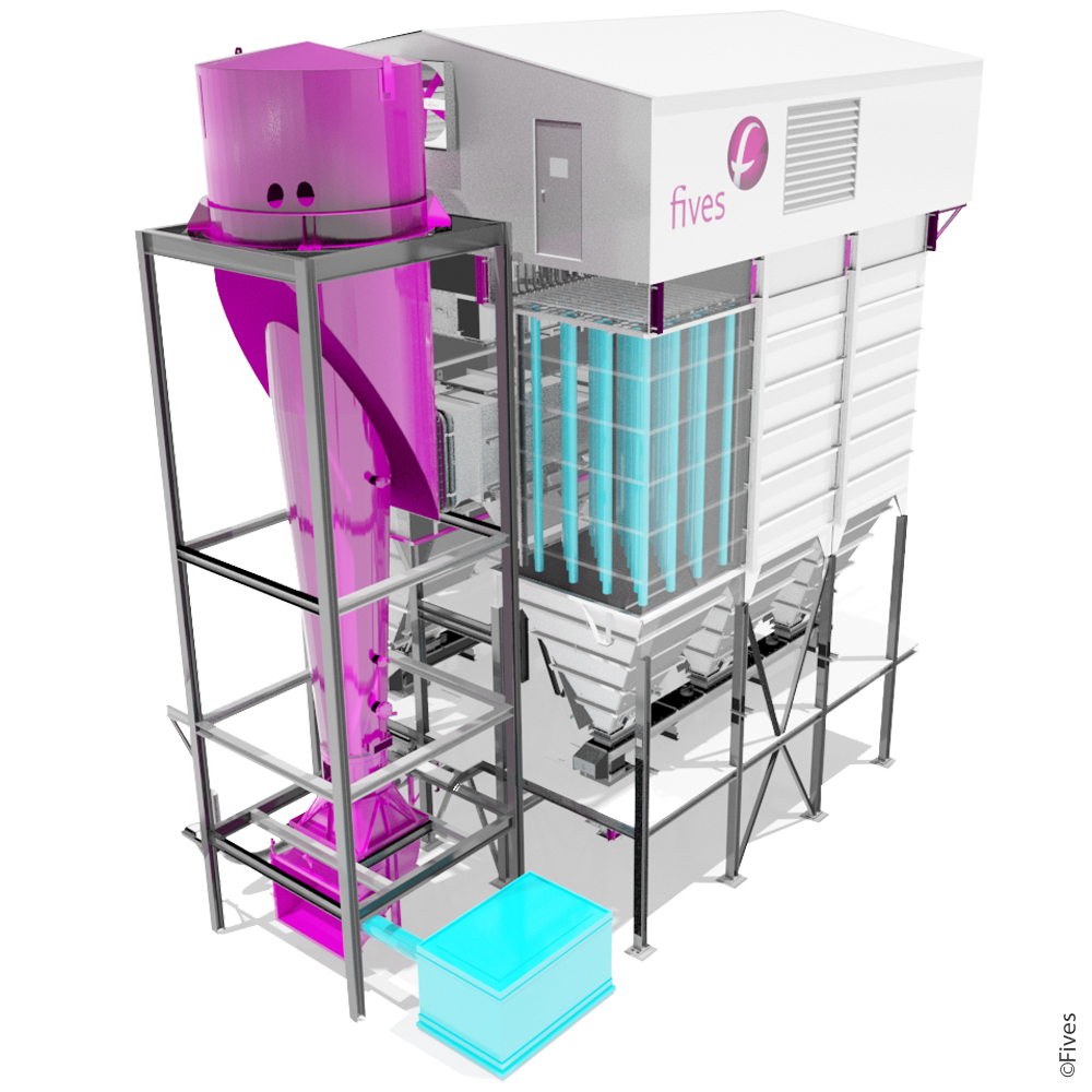 dust-collector bag-filter baghouse dry-scrubber fgd desulfurization NOx-control hot-filtration particulates-removal emission flue-gas-cleaning Chlorines Acid-gas SO3 SO2 HCl Heavy-metals raw-mill grinding cement-3D-FIVES