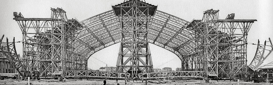 1888 – Construction of the Machinery Palace, Universal Exhibition, 1889 Paris (France)