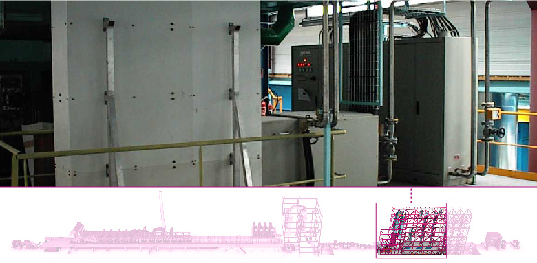 Post treatment, hot air and induction heaters for combined lines
